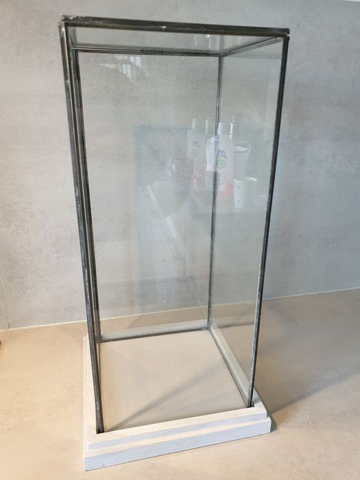 Square bell jar / display case - Glass, Lead, Wood