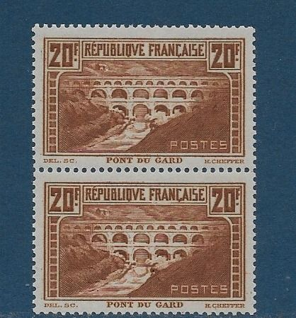 Frankreich 1829/1931 - 2 Stamps no. 262- 20f. Chaudron type IIB and IIA vertically - Yvert 262 f.