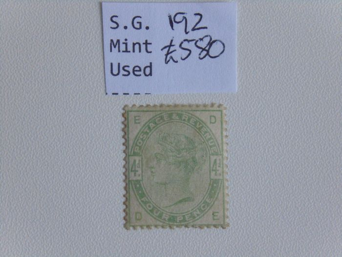 Great Britain 1884/1884 - Mint with gum S.G.192 4d Dull Green - Stanley Gibbons S.G.192