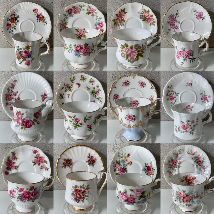 """English Cup & Saucers """"Pink Flowers"""" (12) - Porcelain"""
