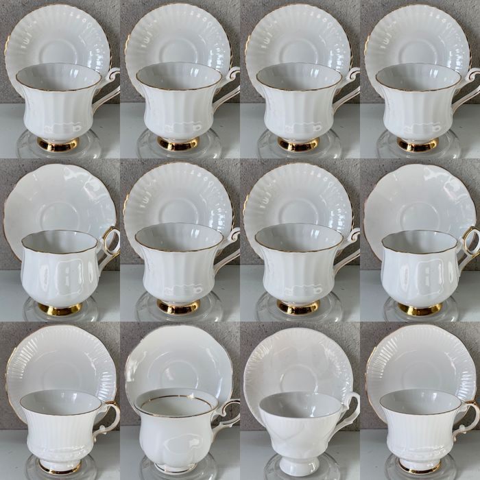 """English Cup & Saucers """"White / Gold"""" (12) - Porcelain"""