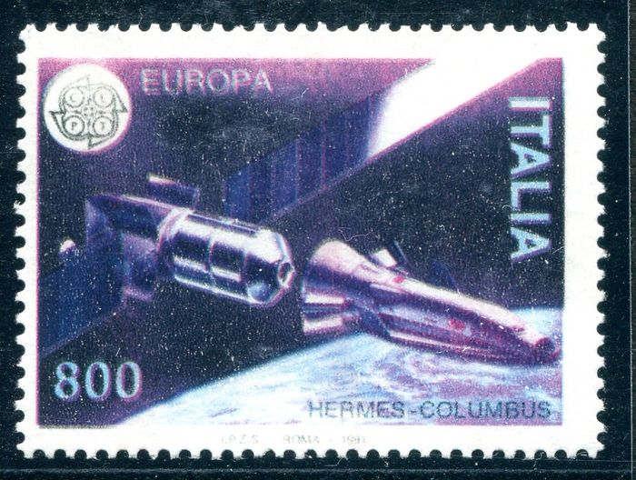 Italia 1991 - Europa '91 variety without the yellow print and colours out of register - bolaffi 2084B