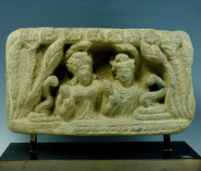 Gandhara Stone Schist Relief Of Two Female Figures - 120mm height X 210mm wide - (1)