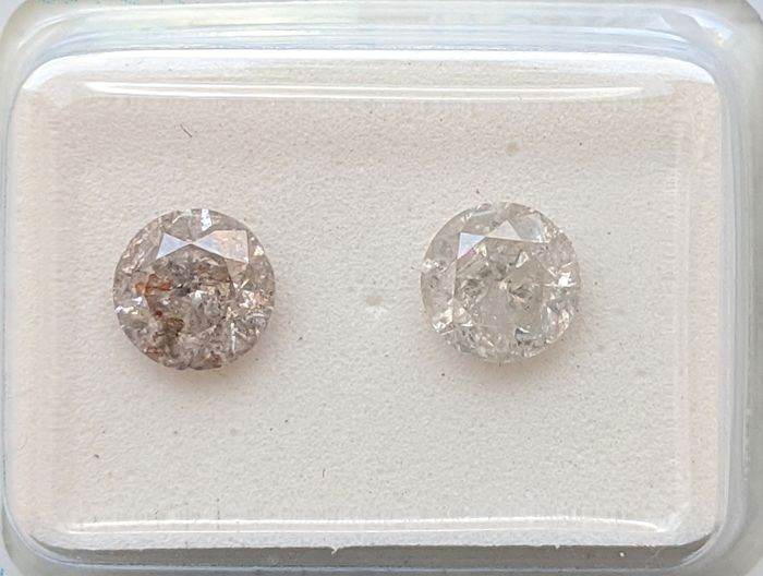 2 pcs Diamonds - 1.32 ct - Brilliant - F - I2, No Reserve Price
