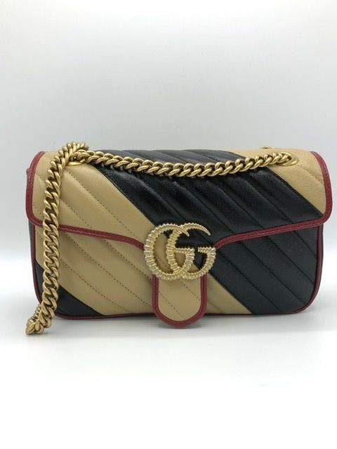 Gucci - Vintage Effect Calfskin Matelasse Small Striped GG Marmont Black Beige Crossbody bag