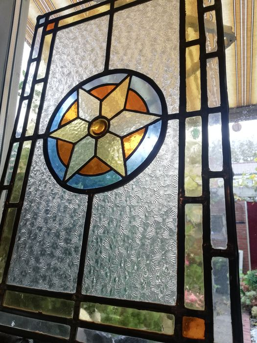 Stained glass window panel - Stained glass - First half 20th century