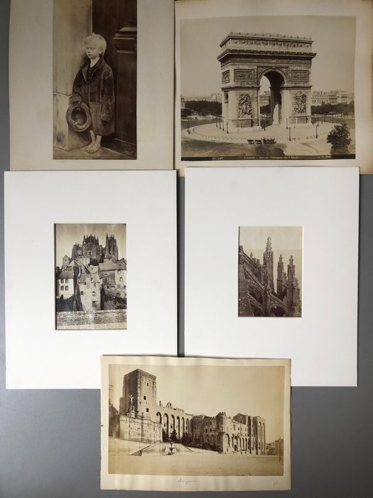 L.P. Phot., Neurdein Frères & unidentified photographers (19th century) - 6 x French topographical scenes + Artworks
