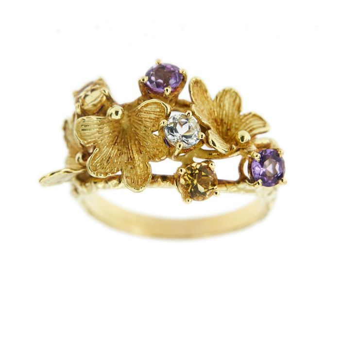 Made in Italy - 18 kt. Yellow gold - Ring - Amethysts, Citrine, Topaz