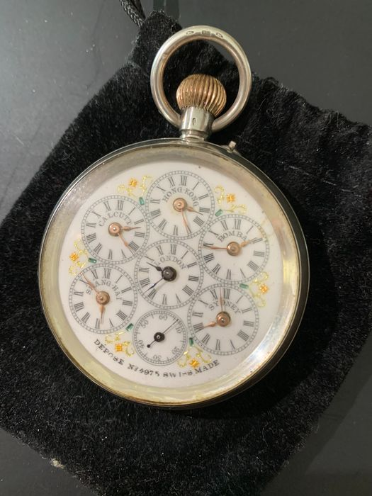 pocket watch 6 time zones - 4975 - Unisex - 1850-1900