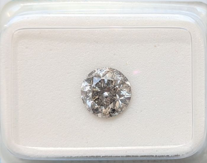 Diamante - 0.94 ct - Brillante - fancy gris - I2, No Reserve Price