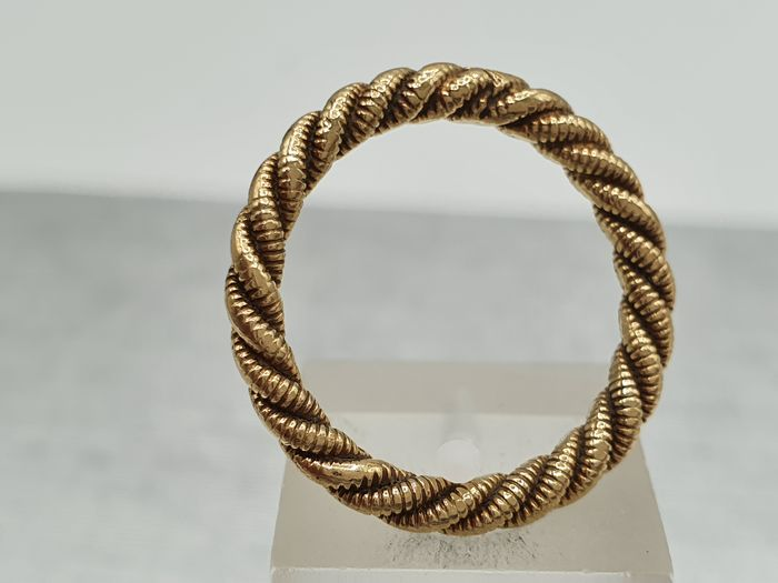 """Vintage & Classic Gold """"Rope"""" Ring- from 1978- - 9ct 375- UK Hallmark Or jaune - Bague"""
