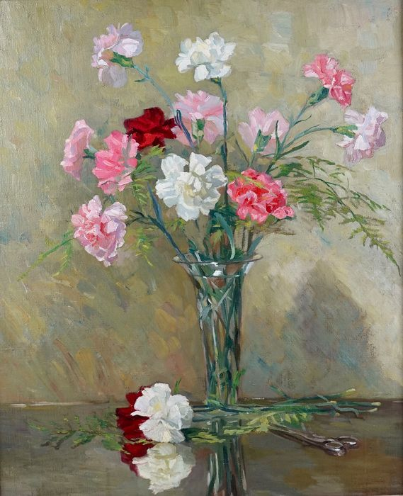 English school (20th century) - A still life of a glass vase of flowers