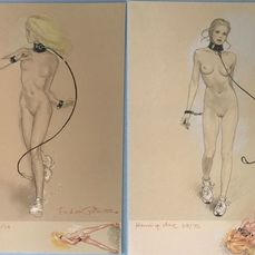 Janice - Running Slave - 2 Numbered lithographies (22/50) - Both with small original drawing by Erich Von Gotha - Size (2x): 29,5 x 42 cm. - (2020)