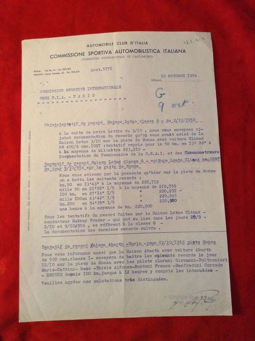 Documents - Monza 1956 Record - Lotus XI Special Coventry Climax World Speed Record - Lotus - 1950-1960