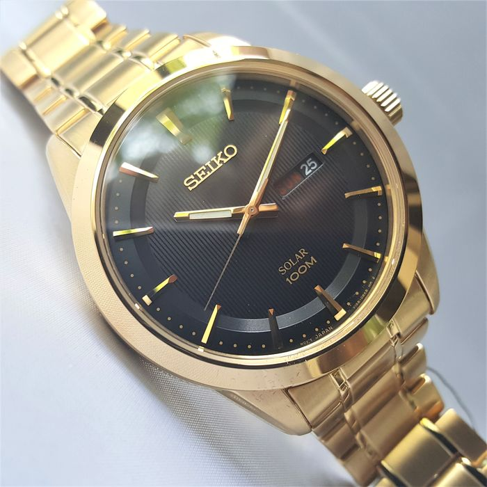 "Seiko - ""NO RESERVE PRICE"" Solar Power Day Date 1 Year Power Reserve All Gold - Men - 2020 - New"