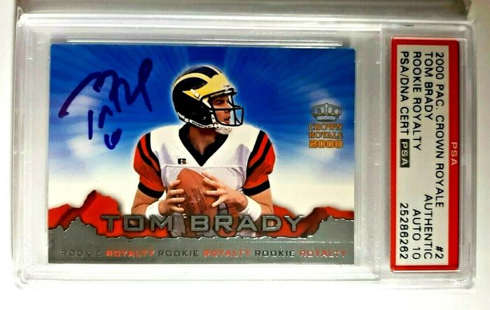 Pacific Crown Royal Autograph - Rookie Royalty - NFL - Tarjeta coleccionable PAS/DNA 10 Tom Brady Rookie - 2000