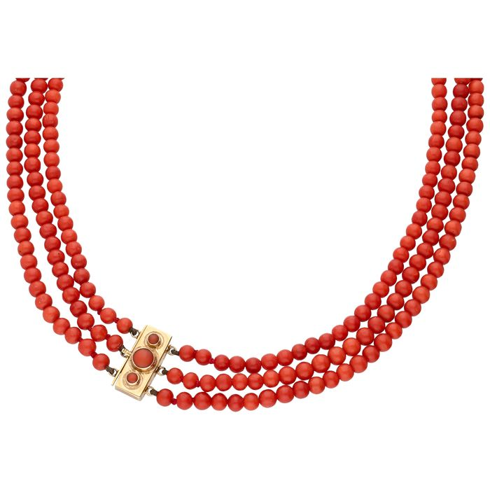 14 kt Gold - Collier rote Koralle