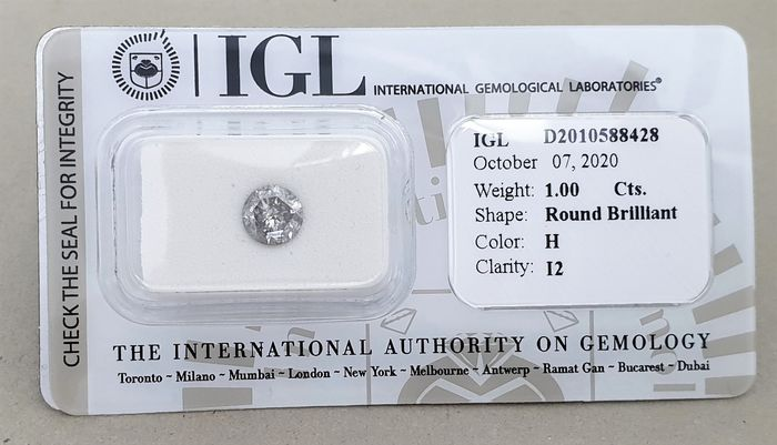 Diamond - 1.00 ct - Brilliant - H - I2, - NO RESERVE PRICE-