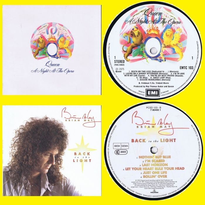 Queen & Related, Brian May - A Night at the Opera +  Back to the Light [UK Pressings] - Titoli vari - LP - 1975/1992