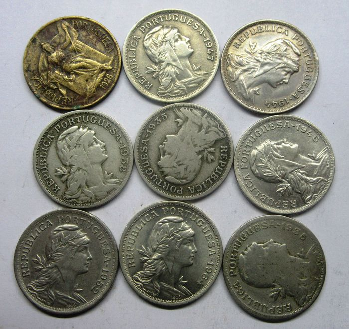 Portugal. Republic. 50 Centavos  1926/1935/1938/1944/1946/1947/1952 & 1964