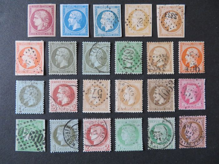 France 1849/1875 - Selection of 23 values between No. 6 and No. 54 (22 different) - Yvert 2018