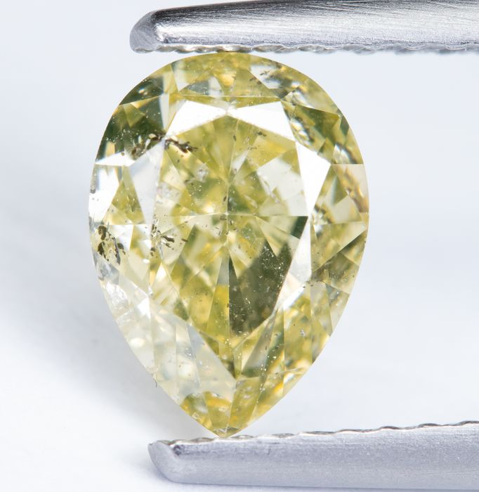 Diamond - 1.29 ct - Fancy Light Greenish Yellow - I1  *NO RESERVE*