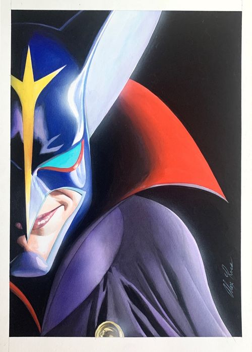 Zoltar - Original Mixed Media Art by Alex Ross - Battle of the planets - signed - CM 29 x 41 - Pagina sciolta
