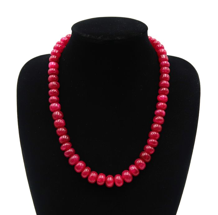 Ruby, polished pearls - July birthstone - Necklace - 126 g