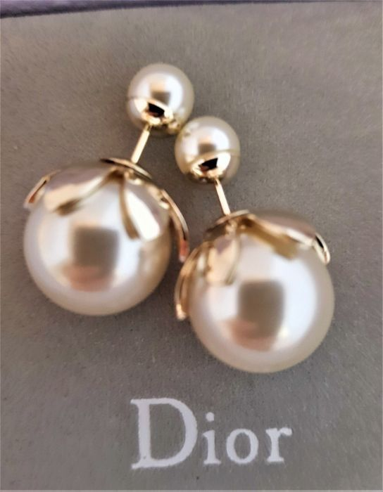 Christian Dior - gold plated stylish faux pearl tribal silver plated