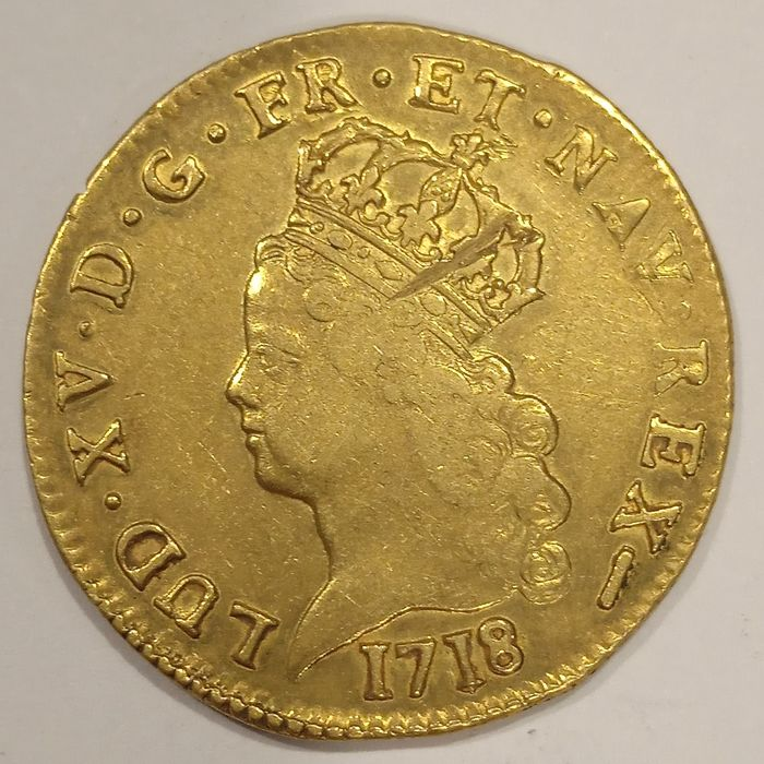 France. Louis XV (1715-1774). Louis d'or de Noailles 1718-W (Lille)