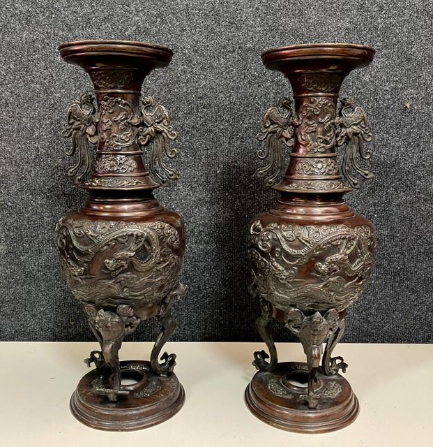 Pair of large bronze perfume burner vases with rounded bellies H 45CM - Bronze - China - XIX