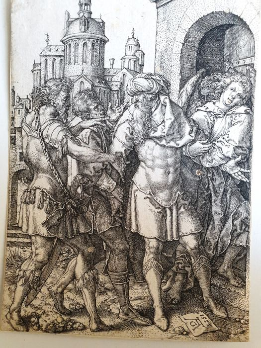 Heinrich Aldegrever (1502-c.1555) - Lot refusing to hand over the angels