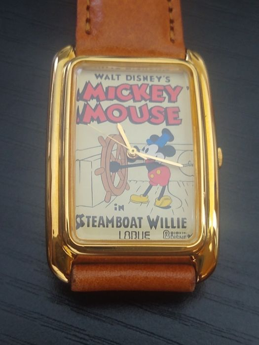 Walt Disney Mickey Mouse - Lorus(Seiko) Mickey Mouse in Steamboat Willie Commemorative Cartoon Wristwatch with Gold Bezel - EO - (1990)