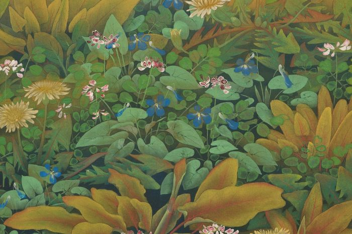 Byobu - paper on wooden panel -  panel roomdivider with a colorfull painting of a hilly flower bed in full bloom with multiple flowe - Japan - Taishō period (1912-1926)