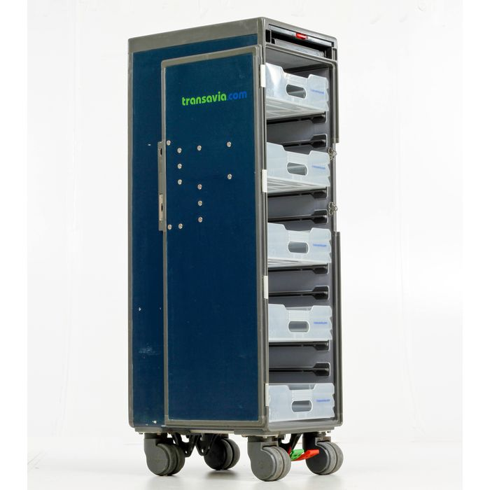 Norduyn - Transavia airplane serving trolley - Half size airline catering trolley with 5 original drawers