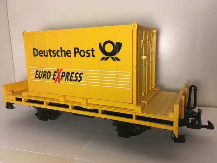 Image 2 of LGB G - Freight carriage - Deutsche Post trolleys with Euro Express containers