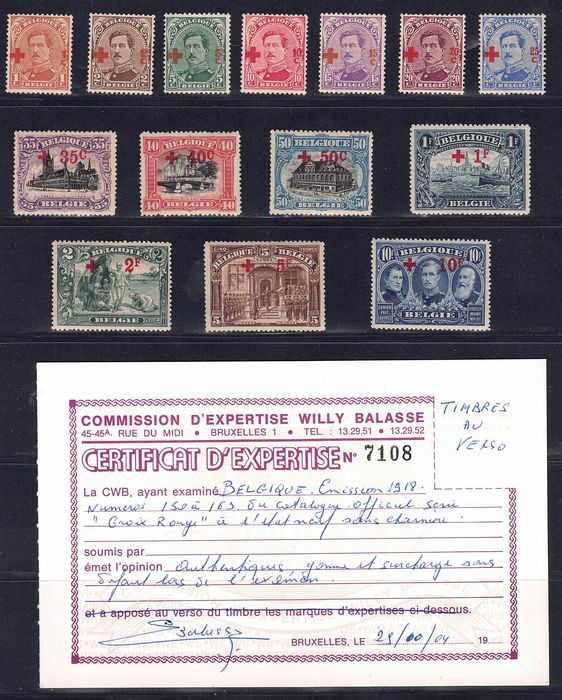Belgien 1918 - Red Cross with certificate - OBP / COB 150/163