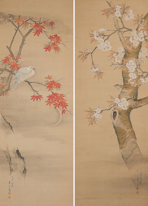 """Hanging scroll (2) - Silk, Wood - Pair of very fine scrolls """"Spring and Autumn"""" - Japan - 19th century"""