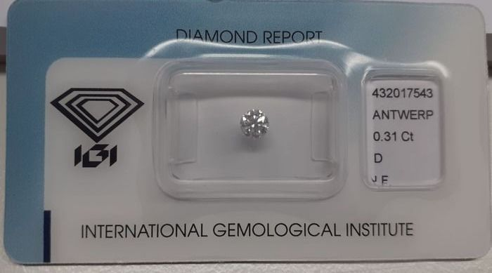 Diamond - 0.31 ct - Round - D (colourless) - IF (flawless), LC (loupe clean)