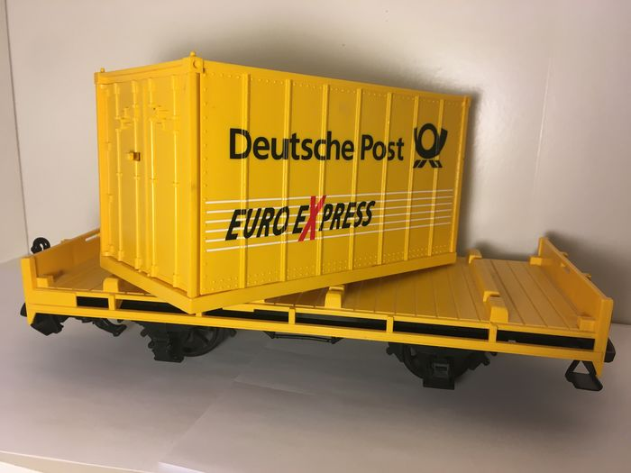 Image 3 of LGB G - Freight carriage - Deutsche Post trolleys with Euro Express containers