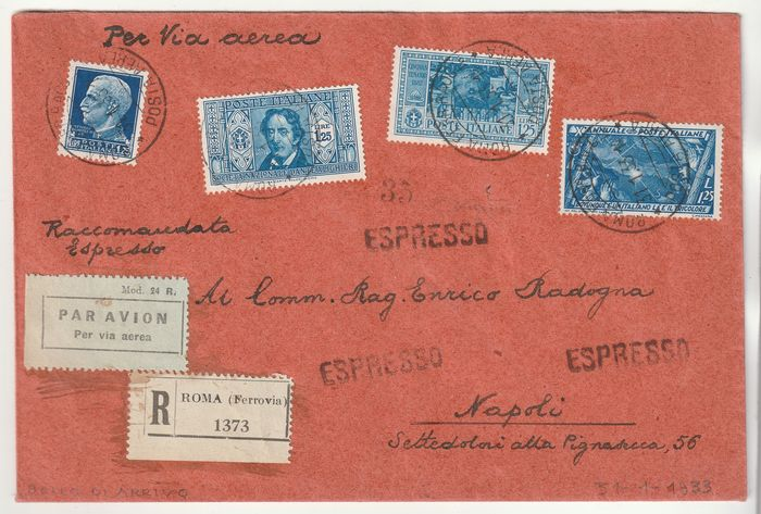 Kingdom of Italy 1933 - SINGLE-COLOUR QUADRUPLET, 4 different 1.25 l. light blue on registered airmail, rare and certified - Sassone NN.253+310+321ì336