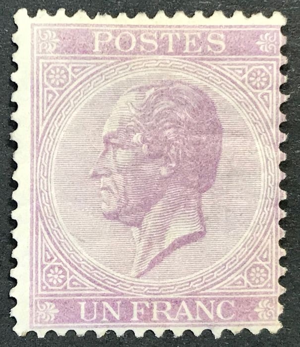 Belgien 1865/1866 - Leopold II in profile - 1fr lilac London printing - Perforation 14 - MNH - OBP / COB 21B