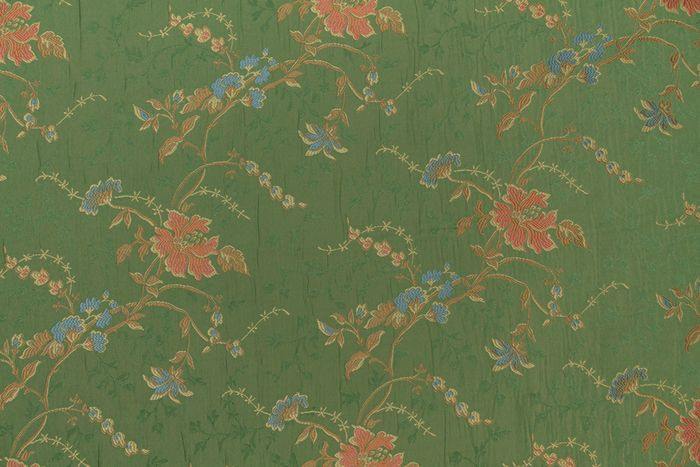 8.50 x 1.40 METERS !!! Exclusive green lampas damask fabric san leucio fabric with decorations - Cotone, Resina/Poliestere - 21° secolo
