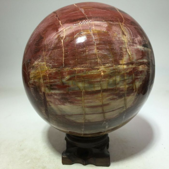 PETRIFIED WOOD FOSSIL SPHERE BALL w/RoseWood Stand Crystal - 107×107×107 mm - 2000 g