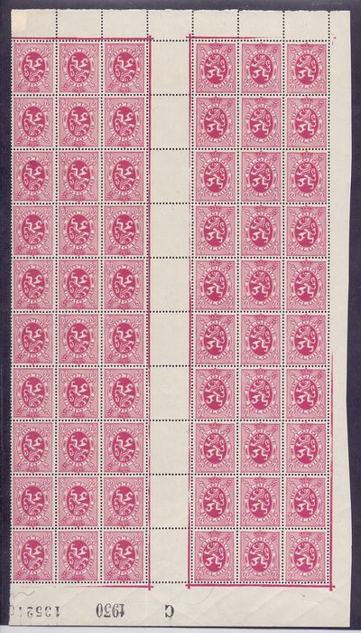 Belgium 1929 - Heraldic lion 60c purple-pink in sheet part of sixty, with 10 x 2 inverted with centre panel - OBP / COB 286 + KT9