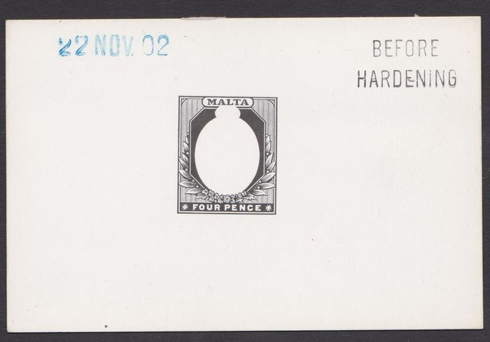 Malta 1902 - Die proof on a glossy card