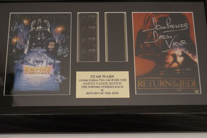 Star Wars - The Empire Strikes Back & Return of the Jedi - Autografo, Fotografia, Darth Vader (Dave Prowse) signed Display - Framed - photo proof & COA