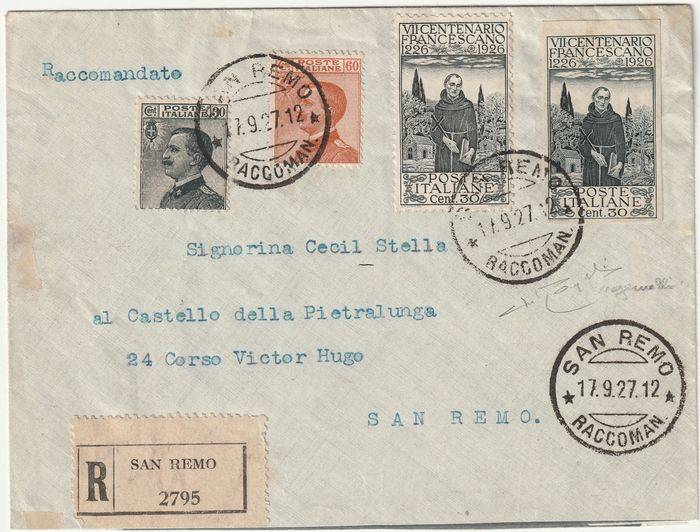 Kingdom of Italy 1927 - TRIPLET 30 c. Michetti + St Francis 30 c. normal + imperforate, the only one known, certified - Sassone NN.198+193c+185+205