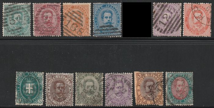 Kingdom of Italy 1879/89 - Umberto I the 1st set without 30 c. + 2nd set complete - Sassone NN.37/40+42/49
