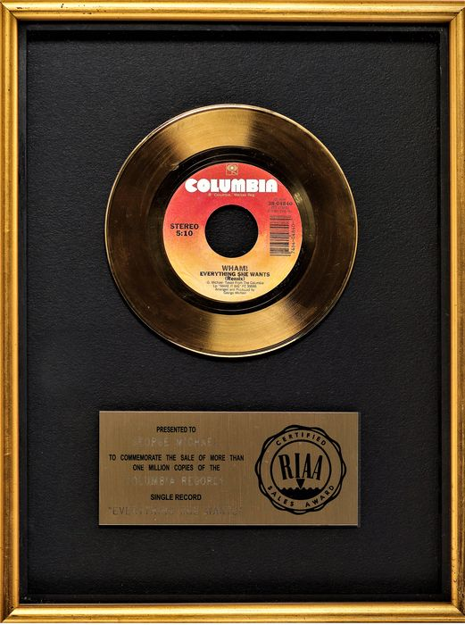 Wham! - Everything she wants - Presented to George Michael - Offizieller RIAA-Award - 1984